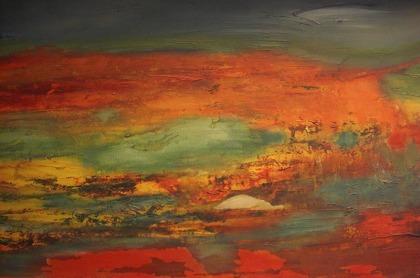 """Ilona Kurz - Ilona Kurz begann vor über 25 Jahren als """"Hobbykünstlerin"""" mit der Malerei auf dem Untergrund Seide. Als Inhaberin eines Bastelgeschäfts fertigte sie für die Kunden gerne auf Wunsch Bilder und Seidentücher an. Gleichzeitig war sie Dozentin an der Volkshochschule und gab dort Malkurse für Kinder und Erwachsene. Ihr Interesse verstärkte sich im Laufe der Jahre für die abstrakte Malerei auf Keilrahmen mit Acrylfarbe. Der Schwerpunkt ihrer Arbeiten liegt im Verwenden pastoser Farbaufträge, die dann wiederum mit Wasser verflüssigt werden, dadurch mehrere übereinander geschichtete Farbverläufe erarbeitet werden. Es entstehen beim Malprozess sowohl Landschaftsmotive wie auch abstrakte figürliche Themen. Sie ist aktives Mitglied im Kunstverein in Alsfeld und nimmt an regelmäßigen Ausstellungen und Weiterbildungen teil."""